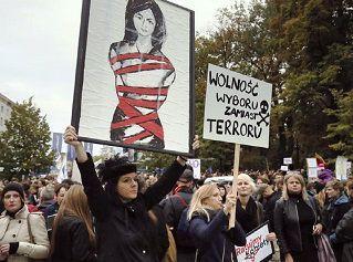 Manifestación en Polonia contra Prohibición Aborto